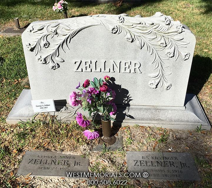 Zellner-gray-granite-lilies-floral-cascade-family-companion-beautiful-custom-headstone-West-Memorials-unique-cemetery-tribute-upright-gravestone-graveyard-memorial