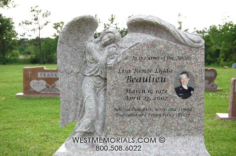 Rose granite angel headstone design with draping wing and color ceramic portrait by West Memorials