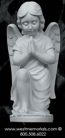 218S Kneeling Angel Bonded Marble Cherub by West Memorials