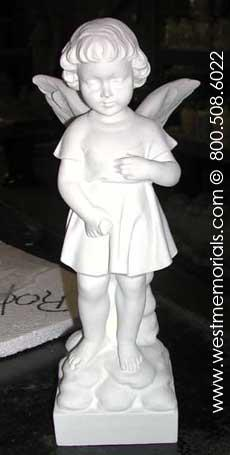 186 Angel Bonded Marble Statue Cherub by West Memorials