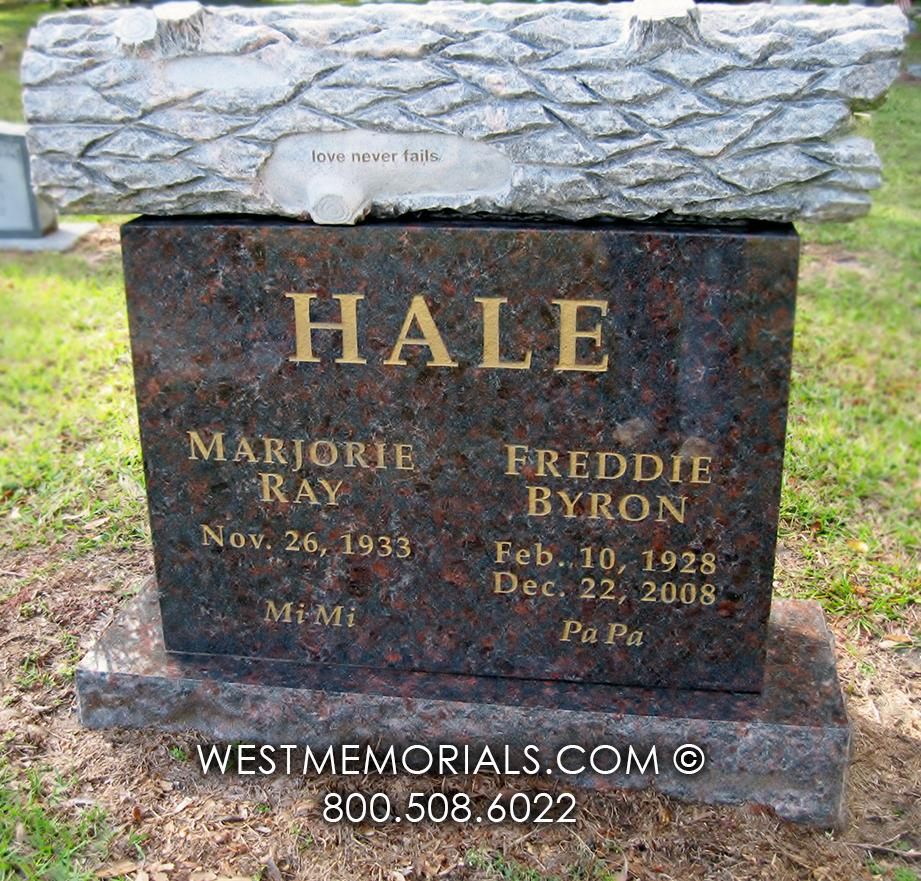 Hale log headstone tree stump lumber gold lettering brown granite companion monument cemetery