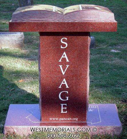 Savage- Granite Headstone With Book