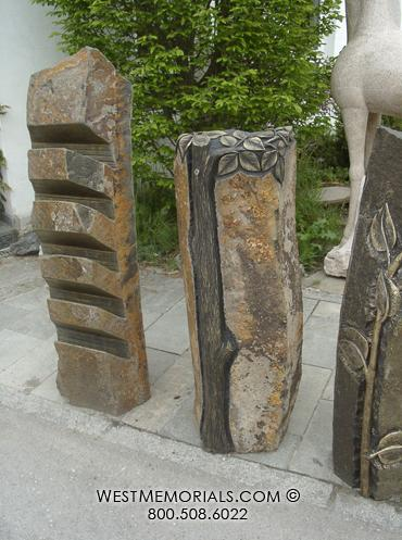 Natural basalt rock in rust and black accent - hand carved tree trunk and leaves by West Memorials