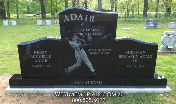 The Adair was designed for a family plot with a baseball photo etching.