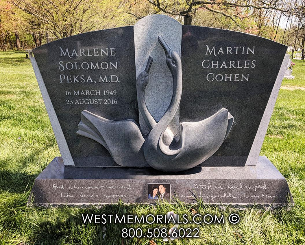 Cohen charcoal black granite swans lovers sculpt hand carved companion headstone monument cemetery