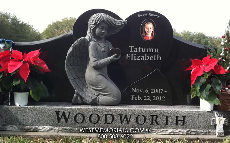 Woodworth-black-granite-angel-West-Memorials-beautiful-headstones-tombstone-porcelain-portrait-etching-cemetery-tribute-family-upright-gray-grave-gravestone-custom