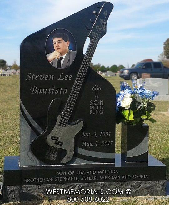 Bautista black granite fender gibson guitar bass vase etch portrait headstones monuments West Memorials