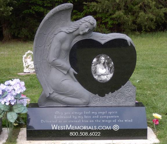 Schmelzle Black Granite w/ Angel Holding Heart by West Memorials