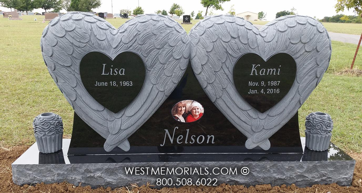 heart wings, black granite, cupcake, custom memorial, headstone