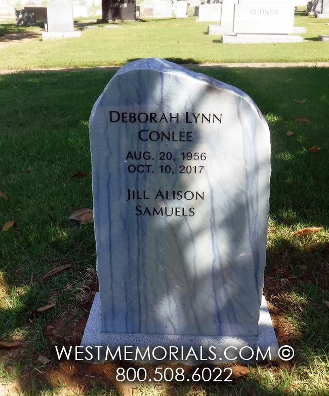 azul blue, companion headstone, memorial, rough rock, natural, contemporary