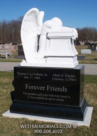 Gray Cross and Rose Carving Design Headstone in Blue Granite