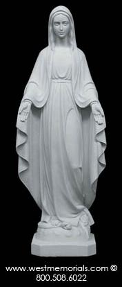 130 Our Lady of Grace Bonded Marble Statue by West Memorials