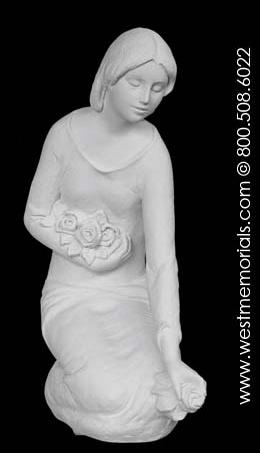602 Lady with Flowers Made from Bonded Marble by West Memorials