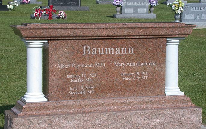 Baumann Family Granite Companion Monument by West Memorials