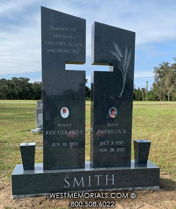 Smith companion cross religious charcoal granite columns cemetery headstones wheat fruit picture vase West Memorials monuments