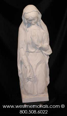 600 Kneeling Lady Made From Bonded Marble by West Memorials