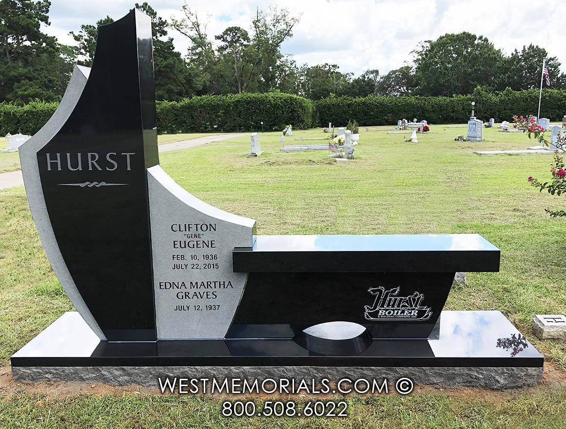 black granite, bench memorial, family memorial