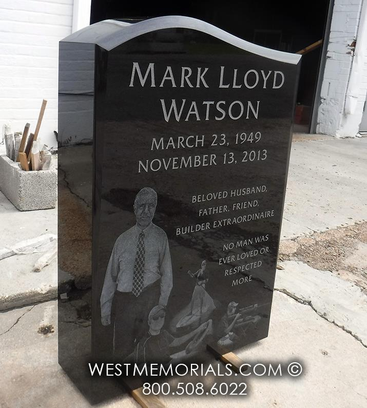 black granite, custom headstone, etching, laster etching memorial
