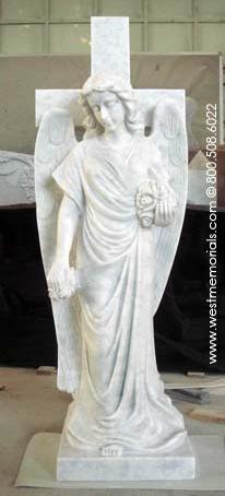 Angel At Cross hand-carved in white marble by West Memorials