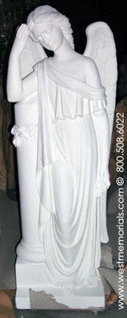 351 Angel with Column Bonded Marble by West Memorials