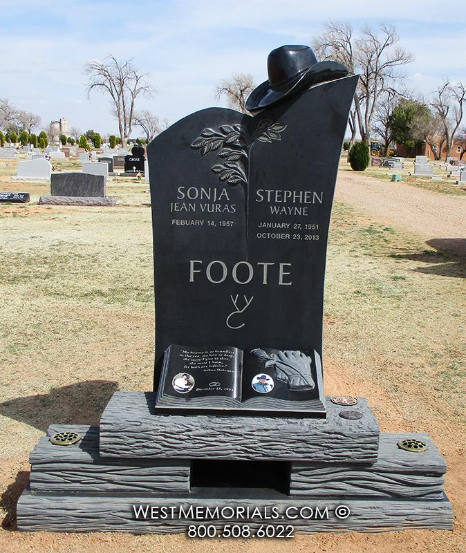 black granite, cowboy, gloves, memorial, tree