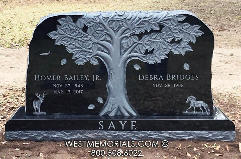 Saye black granite horses dear buck dog tree oak leaves dark etch monument Headstones unique bear