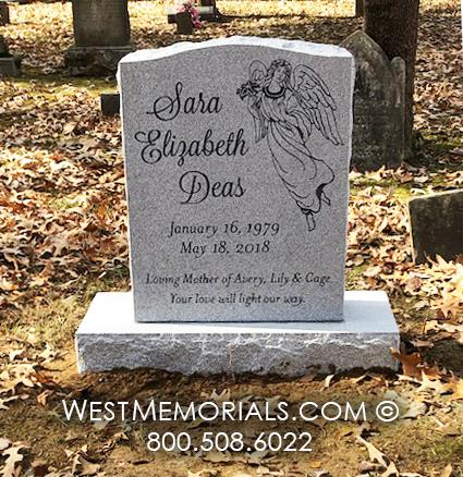 gray granite, angel, monument, grave marker, headstone
