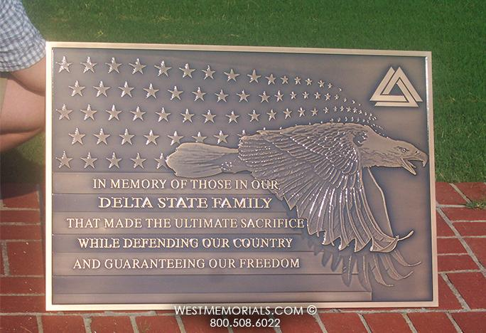 Delta State University Bronze Plaque Civic & War Memorial by WestMemorials