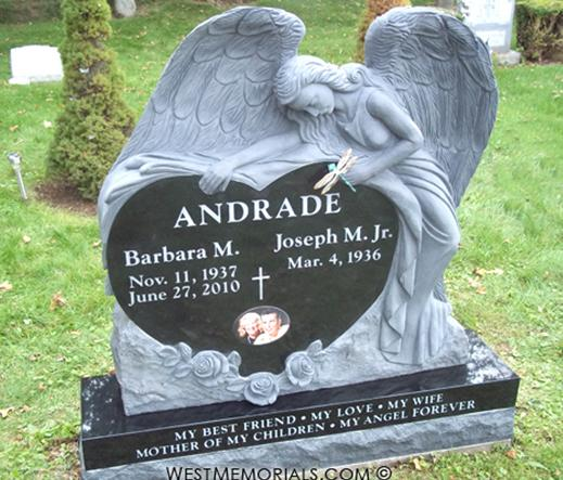 Andrade Angel Heart with Roses and Bronze Dragonfly by West Memorials