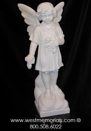 316 Angel is created from bonded marble by West Memorials and can be used as a child or cherub.