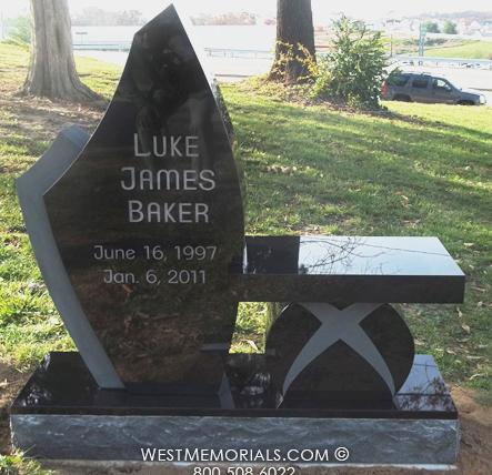 Baker Black Contemporary Headstone w/ Matching Bench by WestMemorials