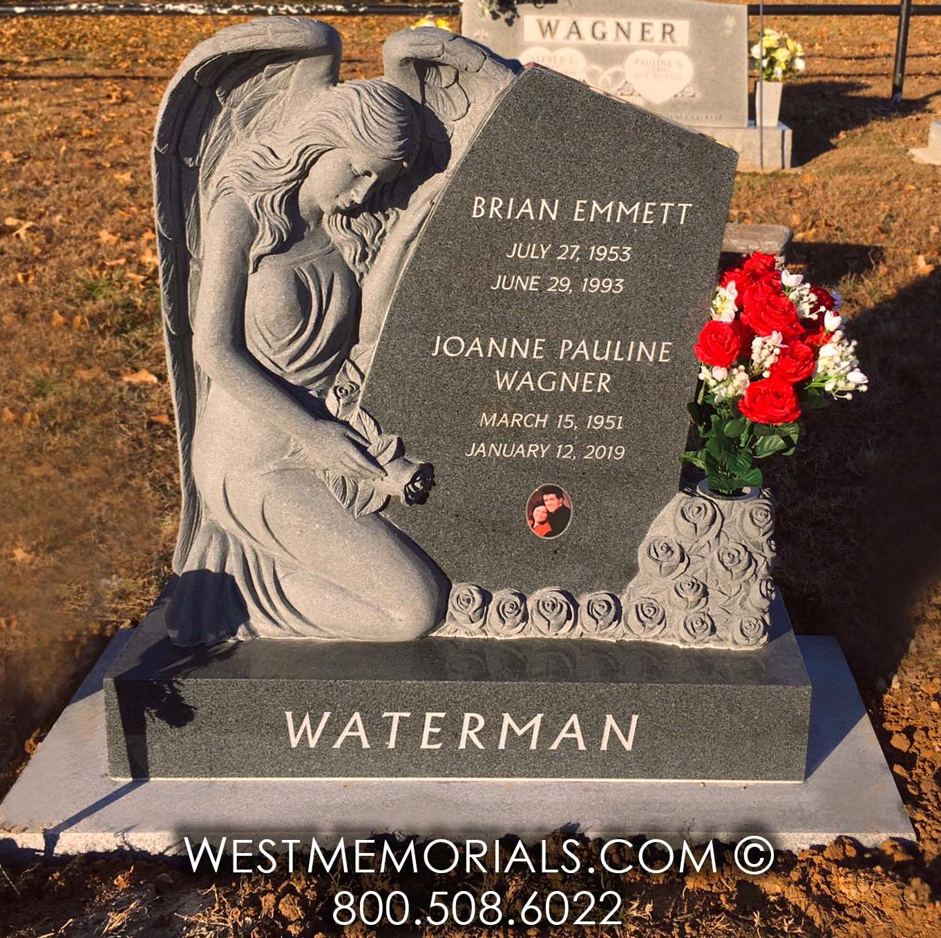 Waterman angel heaven wings roses charcoal gray granite headstones custom carved cemetery upright monument flowers purchase buy design