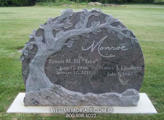 Red Granite Companion Headstone With A Carved Pecan Tree