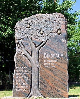 Granite headstone with carved pear tree Birnbaum by West Memorials