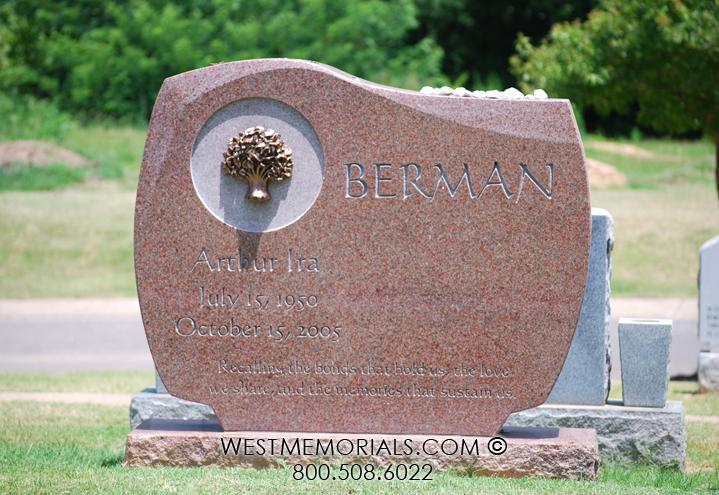 Berman Red Granite Curved Design With Bronze Tree by WestMemorials