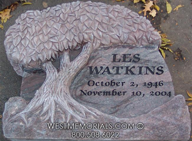 Round natural headstone with hand carved tree