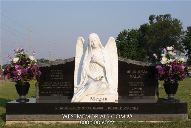 Granite headstone with marble angel statue - Mallatt - by West Memorials