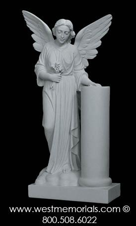 171 Angel with Column Bonded Marble by West Memorials