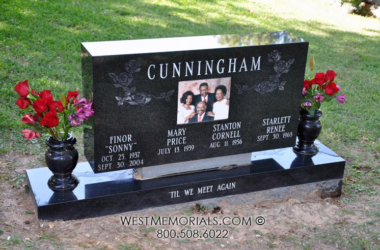 Cunningham Granite Contemporary Family Headstone W/ Floral Design