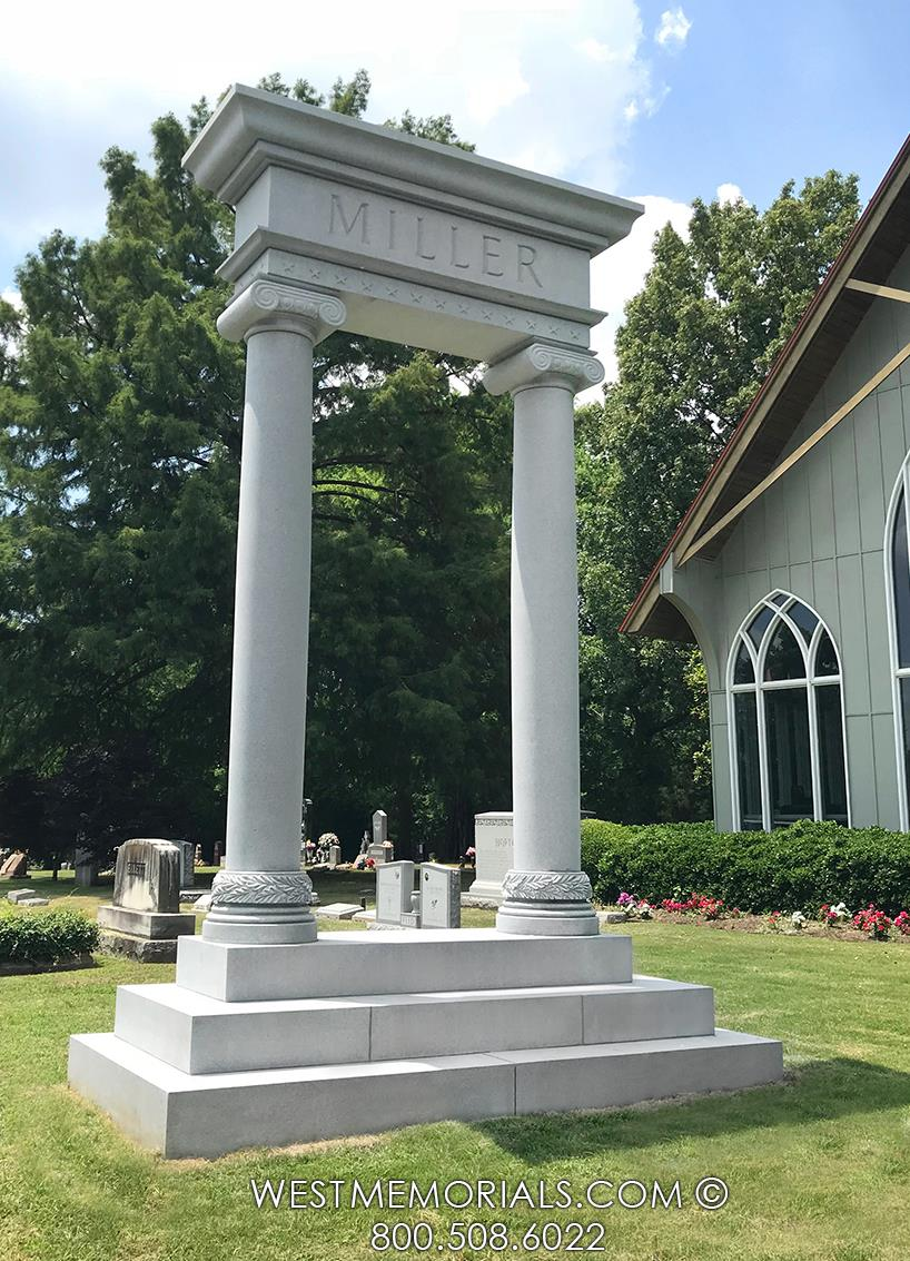 columns-veteran-white-granite-memorial-monument-traditional-estate-headstones-gray-cemetery-grave-tribute-honor-pediment-cap-custom-stars-military-pillars-Navy-tall