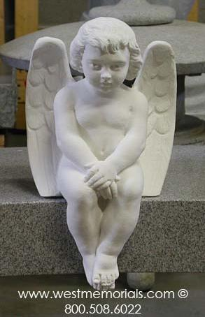 810 Seated Angel created from bonded marble by West Memorials