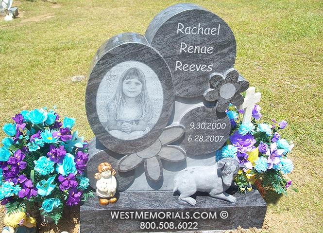 Reeves Custom Monument with Flowers and Laser Etched Portrait by West Memorials