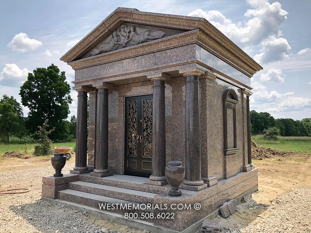 mausoleum, granite, brown, family mausoleum, crypt, custom