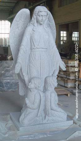 Guardian Angel Statue is hand-carved in granite by West Memorials.