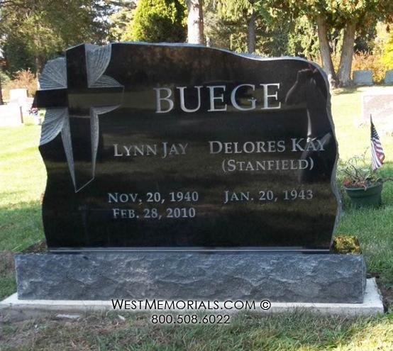 Buege Black Granite Carved Cross Design by West Memorials