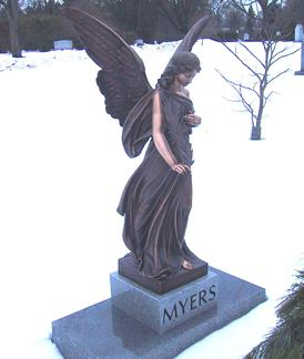 Myers Bronze Angel On Granite Pedestal w/ Bevels by West Memorials